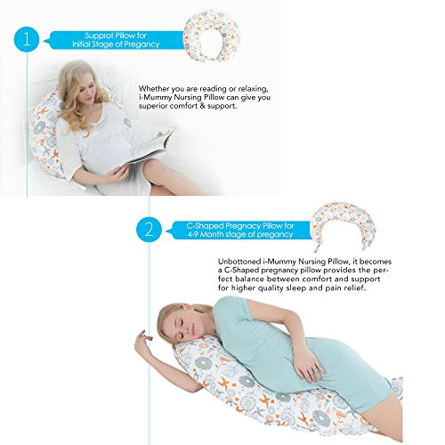 i-baby 4 in 1 Cotton Knitted Cover Breast Feeding Pillow Nursing Pillow Maternity Pregnancy Support Pillow Multi-Functional Baby Cushion (Birds) by i-baby (Image #2)