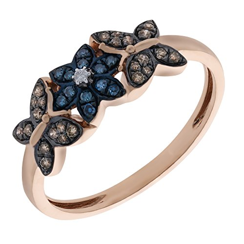 Prism Jewel 0.26Ct Blue & Natural Brown, White Diamond Butterfly Style Ring in Rose Gold Plated Silver, Size 10.5