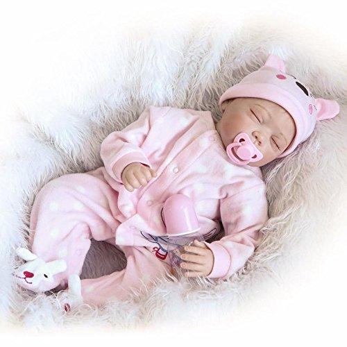 """22"""" 55cm Real Life Jouets magnétiques En toute sécurité réaliste bébé Reborn Lifelike Nouveau-né Baby Soft Silicone Magnétique Bouche vivante des poupées en"""