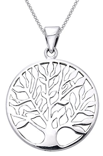 (Jewelry Trends Sterling Silver Large Celtic Tree of Life Pendant on 22 Inch Box Chain Necklace)