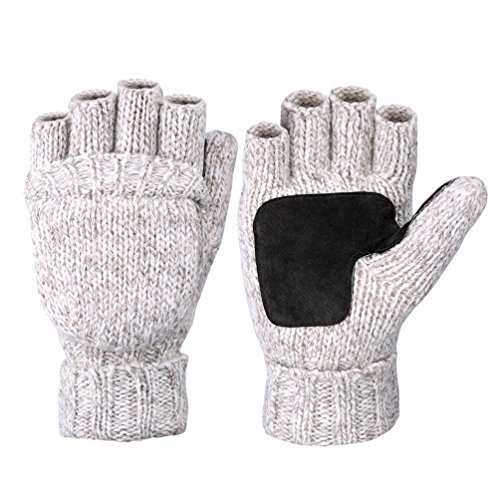 Vbiger Winter Warm Wool Mittens Gloves (Beige)