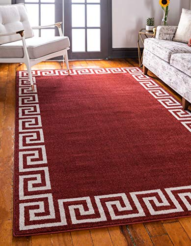 Unique Loom Athens Collection Geometric Casual Modern Border Terracotta Area Rug 3 3 x 5 3