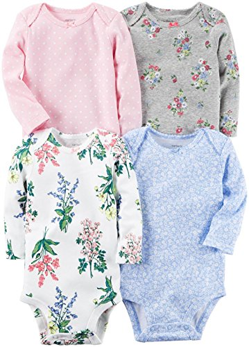 [Carter's Baby Girls Multi-Pk Bodysuits 126g599, Floral, 6 Months Baby] (Baby Designer Clothes)