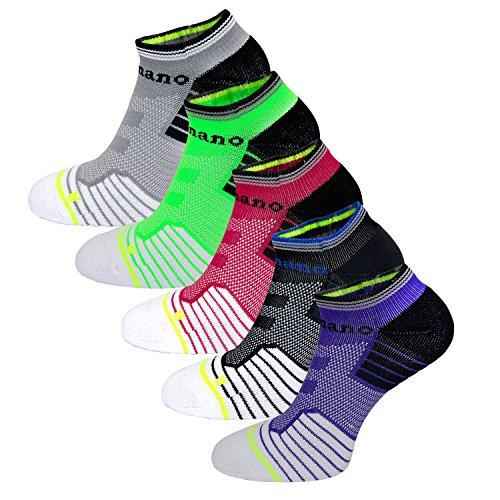Aaronano 5 Pairs Women Half Cushioned Terry Athletic Running Socks Size (US6.5 11.5)