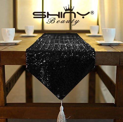 shinybeauty borla lentejuelas camino de mesa, negro -30 x 275 cm ...