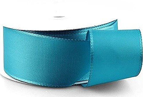 "Tafetta Bow (Custom & Fancy {1.5"" Inch Width - 50 YDS} 1 Pack of Wide ""Taffeta & Wire-Edge"" Ribbon for Hairbows, Decorations & Gift Wrap Made of Nylon w/ Trendy Teal Blue Shiny Accent Bow Style [Turquoise])"
