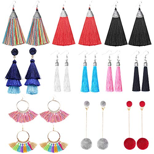 (SUNNYOUTH 12 Pairs Long Tassel Drop Dangle Earrings Black Yellow Red Colorful Layered Hoop Earrings Fringe Bohemian Tiered Tassel Stud Earrings for Women Girls)