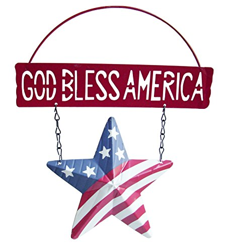 """Patriotic """"God Bless America"""" Red Welcome Sign with Star Shaped Flag Hanging Wall/Door Decoration - 8 Inch High"""