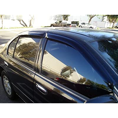 TuningPros WSVT2-675 Sunroof Moonroof Type 2 and Out-Side Mount Window Visor Deflector Rain Guard Dark Smoke 5-pc Set: Automotive