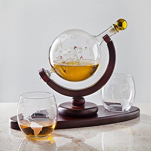 Whiskey Decanter Globe Set with 2 Etched Globe Whisky Glasses  for Liquor Scotch Bourbon Vodka  850ml