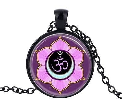 Générique Collier Pendentif Om Mandala Fleur De Lotus