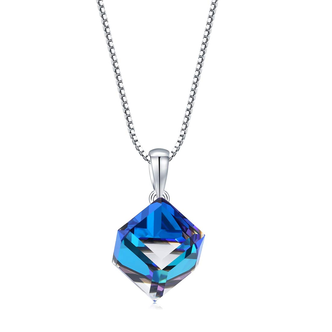 """iCKER Pendant Necklace for Women Girls 925 Sterling Silver .8MM Box Chain - Italian Necklace Chain, 16"""" Changeable Color Dangle Necklace Fine Jewelry for Women, Anniversary, Birthday"""