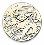 7ArtsStudio Jeep and Jet Ski Wall Clock Made of WOOD - Perfect and Beautifully Cut - Decorate your Home with MODERN ART - UNIQUE GIFT for Him and Her - Size 12 Inches