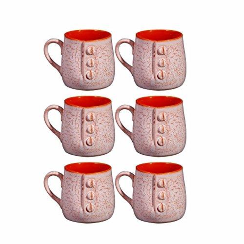 Caffeine Ceramic Handmade Matte Pink  amp; Orange Crackle Buttoned Tea Cup  Set of 6