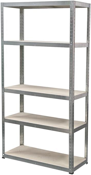 Ironside 140022 - Estantería de pie (madera y metal, 180 x 90 cm, 5 repisas, capacidad de carga: 200 kg)