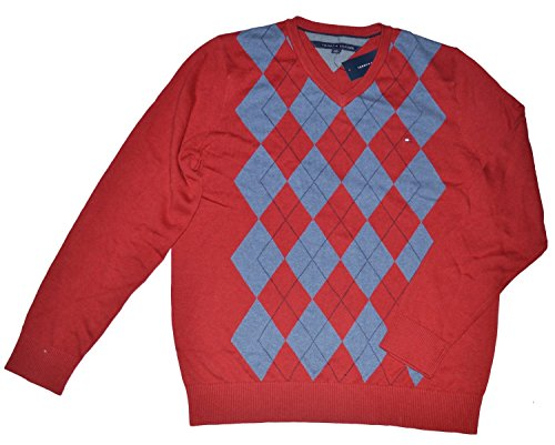 (Tommy Hilfiger Men's V Neck Pullover Argyle Long Sleeve Sweater (SMALL, Red))