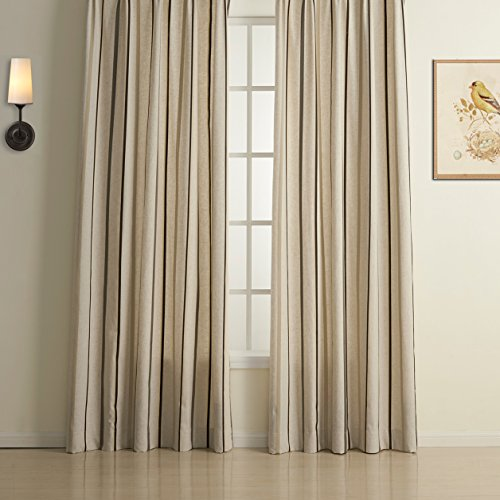 KoTing Home Fashion Natural Linen Gray Stripe Jacquard Curtain Grommet Top,1 Panel,100 by 100-Inches,Two Colors to Choose From
