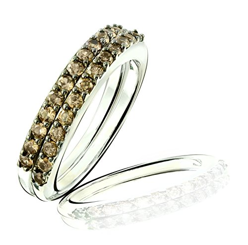 Brown Zircon Set of 2 Stack Ring in Rhodium-Plated Sterling Silver (10) (Plated Thin Stack)