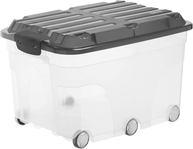 Rotho Roller 6, Caja de almacenaje de 57l con tapa y ruedas ...