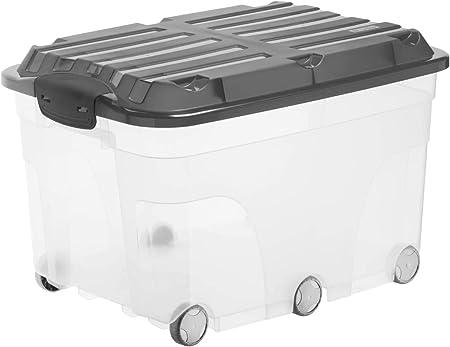 Rotho Roller 6, Caja de almacenaje de 57l con tapa y ruedas, Plástico PP sin BPA, transparente, antracita, 57l 59.5 x 40.0 x 37.0 cm: Amazon.es: Hogar