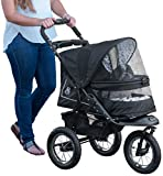Pet Gear No-Zip NV Pet Stroller for Cats Dogs - Zipperless Entry - Easy One-Hand Fold - Air Tires - Plush Pad + Weather Cover Included - Optional Divider