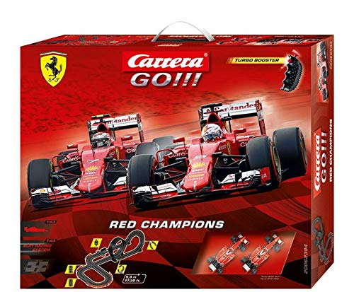 Carrera GO!!! Red Champions 1:43 Scale Electric Powered Formula 1 Slot Car Race Track Set 17 Feet ()