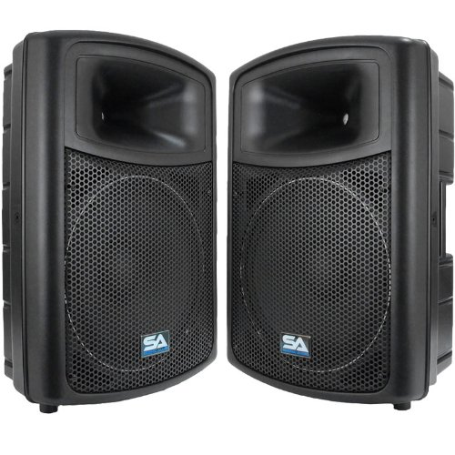 "Seismic Audio - PWS-15 (Pair) - Powered PA/DJ 15"" Molded Speakers - 600 Watts each"