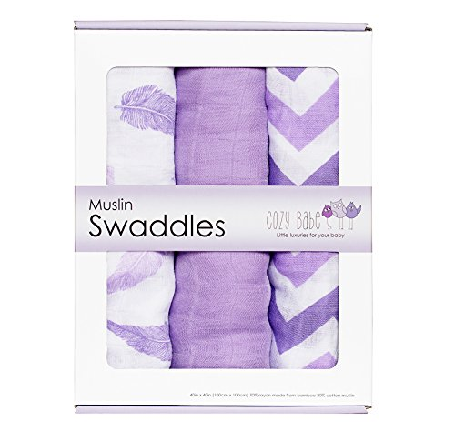 Bamboo Muslin Swaddle Blankets - 3 Pack - Purple Feather Chevron - Softest Muslin Swaddles by Cozy Babe