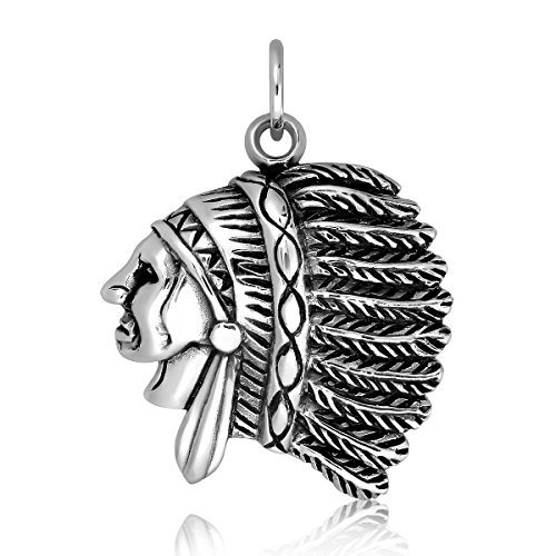 WithLoveSilver 925 Sterling Silver Native American Indian Cheif Head Pendant