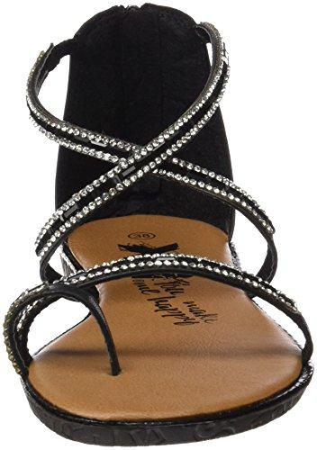 XTI 046630, Sandalias con Punta Abierta para Mujer Negro (Black)