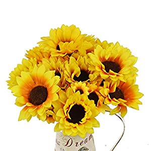 Lacheln Artificial Sunflowers Silk Flowers Bouquet 7 Branches with Stem Home Wedding Party Floral Decor,Pack of 4 78