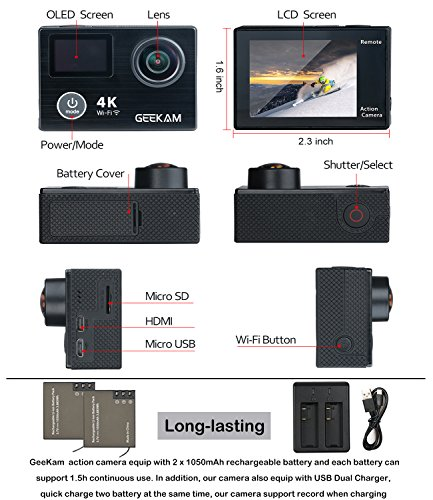 action camera cam 4k sport action camera camcorder with. Black Bedroom Furniture Sets. Home Design Ideas