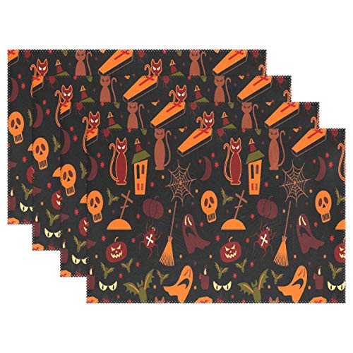 (NMCEO Place Mats Halloween Seamless Wallpaper Personalized Table Mats for Kitchen Dinner Table Washable PVC Non-Slip Insulation Set of)