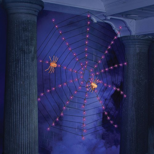 Halloween Lights - Indoor-Outdoor Lighted Spider Web Halloween Lights - 4 (Purple)