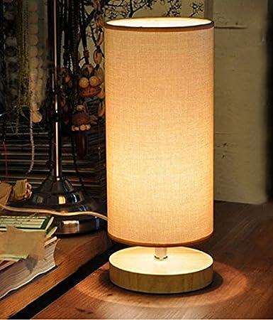 Amazon.com: Lámpara de mesa de noche, minimalista madera ...