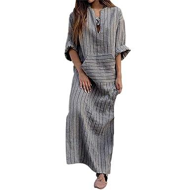 c0ecee49281e6 huateng Long Sleeve V-Neck Dress Striped Cotton Linen Dress: Amazon.co.uk:  Clothing