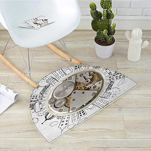 (Clock Half Round Door mats an Alarm Clock with Clouds and Buildings Around It in Vintage Style Pattern Design Bathroom Mat H 23.6