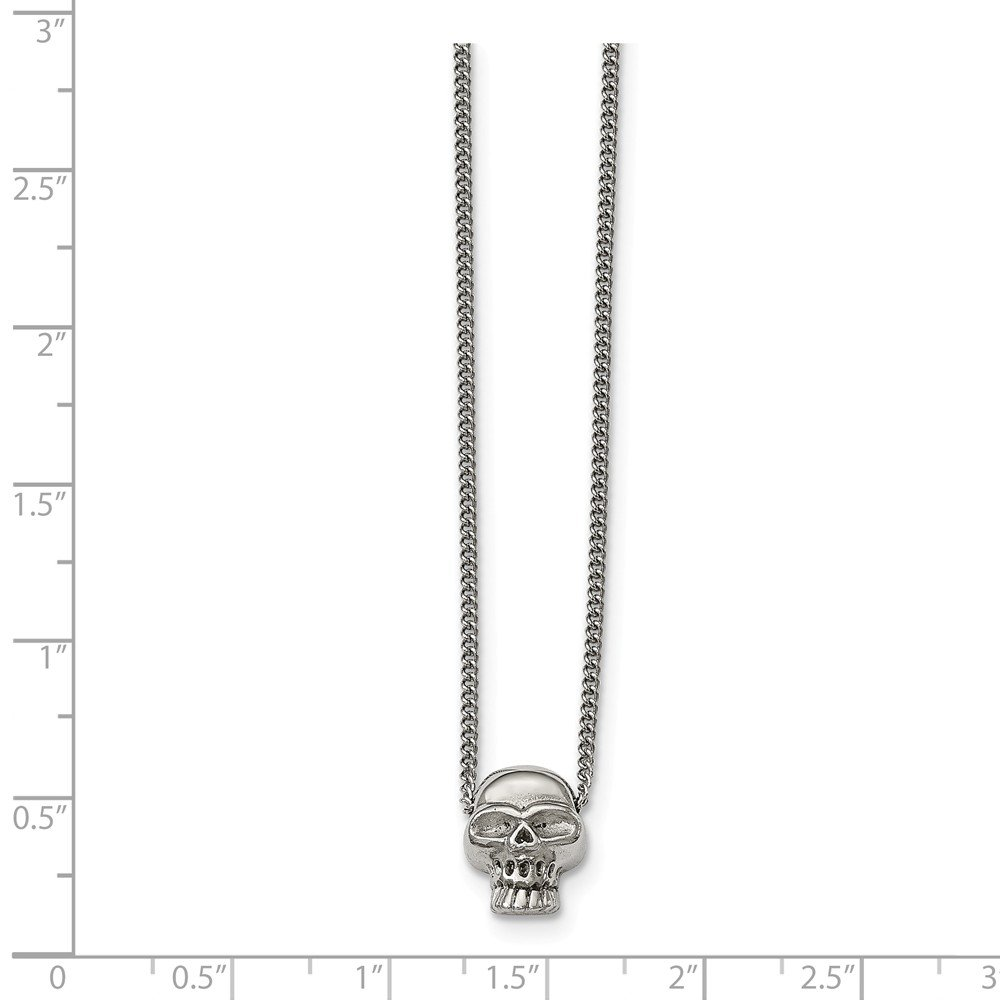 Stainless Steel Polished Skull Necklace 16 Inches