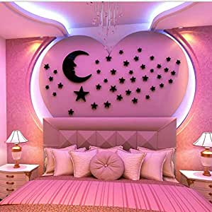 Cartoon DIY Moon and stars Arcylic 3D Wall Stickers Crystal Decal children room bedroom TV background Decor mm