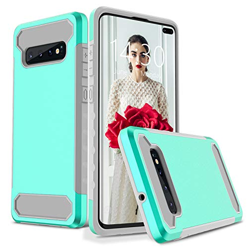 Henpone Designed for Samsung Galaxy S10 Plus Heavy Duty Case Dual Layer Protective Slim Fit Guard Series Cover S10+ Plus Case 2019 - Emerald/Grey