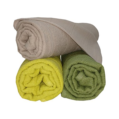 Welhome Ecolite 250 GSM Cotton 3 Piece Bath Towel Set – Lime Green, Beige and Apple Green