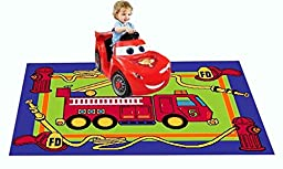 MYBECCA\'s Kids Rug Junior FIRE FIGHTING TRUCK Playtime Area Rug 5ft X 8ft for Nursery and Playroom