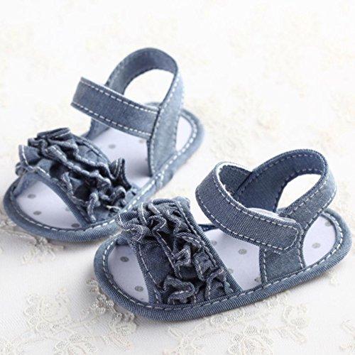 Zapatos de bebé, Switchali zapatos bebe niña primeros pasos verano Recién nacido Cuna Flor Suela blanda Antideslizante Zapatillas niño vestir casual Gris
