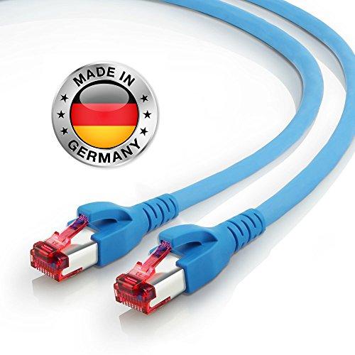 AIXONTEC 1m CAT7 Ethernet LAN Kabel RJ45 Profi Netzwerkkabel Blau