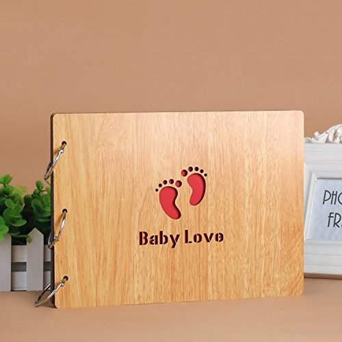 - DIY Scrapbook, 10 Inch Wooden Cover Photo Album, Anniversary Memory Book, Maple Color Wedding Guest Book, Gift (Baby Love)