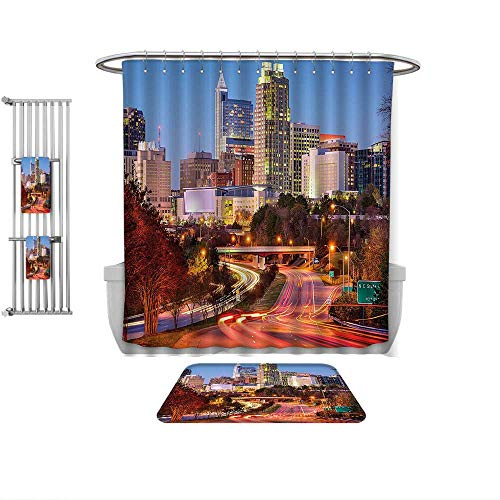 Home Decoration United States Raleigh North Carolina USA Express Way Business District Building Skyscrapers ES Multicolor, Custom Bathroom use-Multiple Sizes