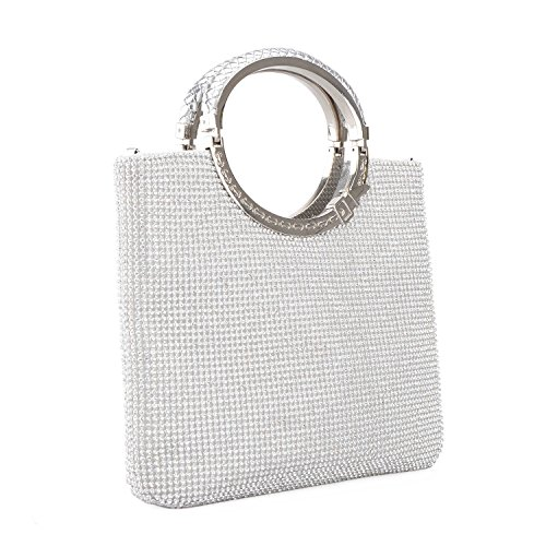 Purses Evening Bride Wedding Rhinestone Silver1 Women Clutches Kaever Party Bags Handbags Crystal Party Cp4qaBFw