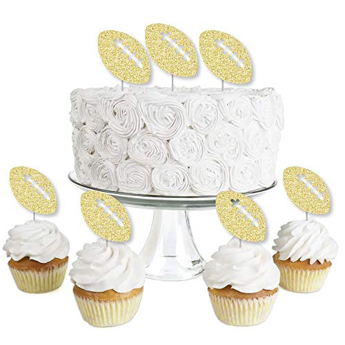 Gold Glitter Football - No-Mess Real Gold Glitter Dessert Cupcake Toppers - Baby Shower or Birthday Party Clear Treat Picks - Set of 24 (Football Cup Cake Topper)