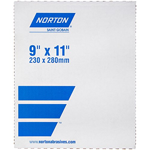 Norton T414 Blue-Bak Abrasive Sheet, Paper Backing, Silicon Carbide, Waterproof, Grit 500  (Pack of 10) by Norton Abrasives - St. Gobain