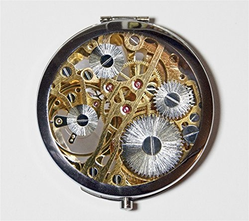 Clock Gears Compact Mirror Victorian Steampunk Gear Industrial Pocket Size for Makeup Cosmetics